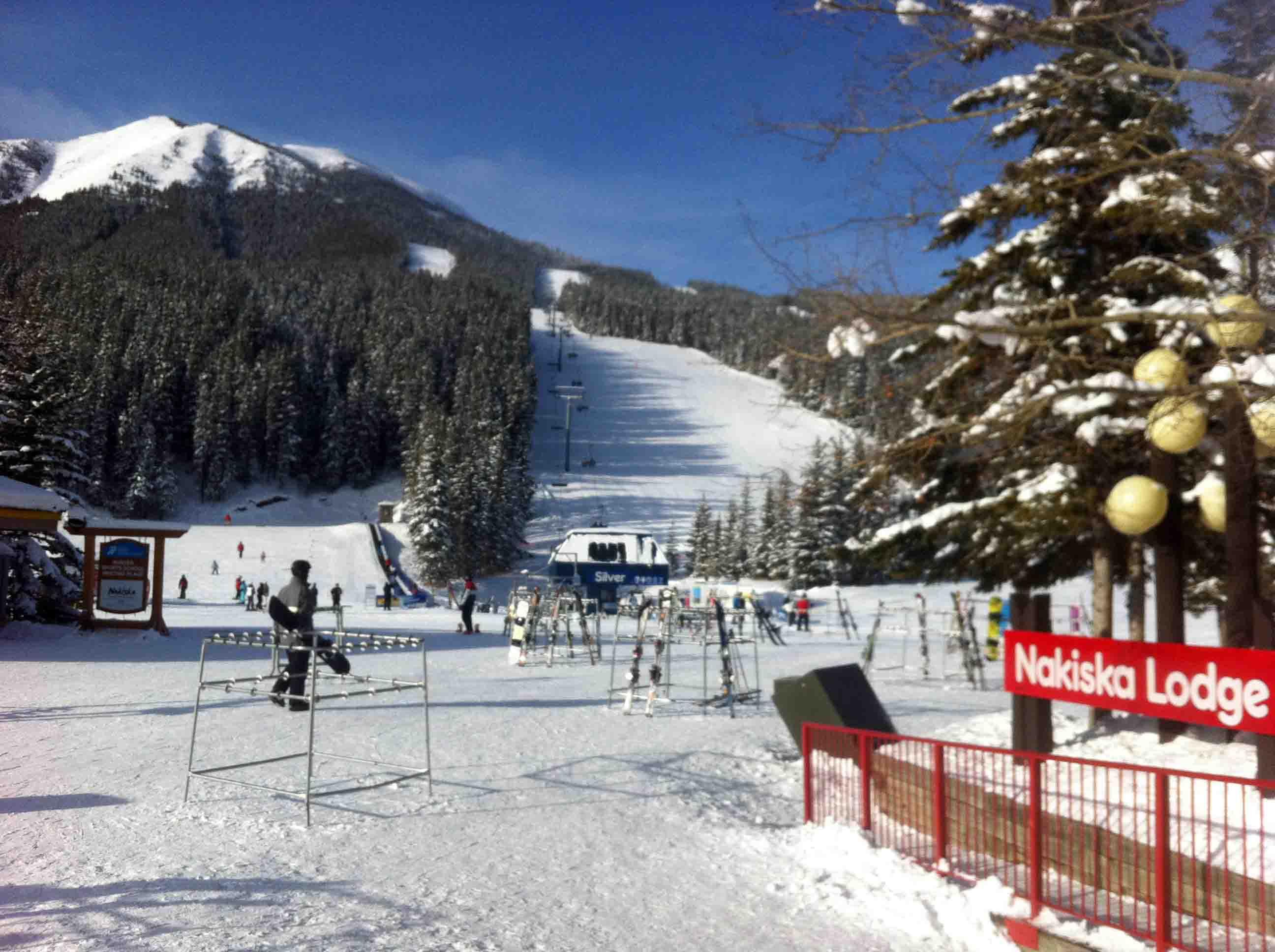 skiing nakiska in kananaskis country, alberta, canada
