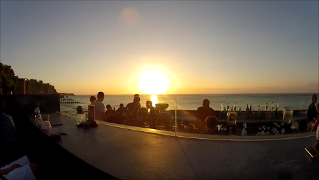 Sunset at Rock Bar in Bali, Indonesia