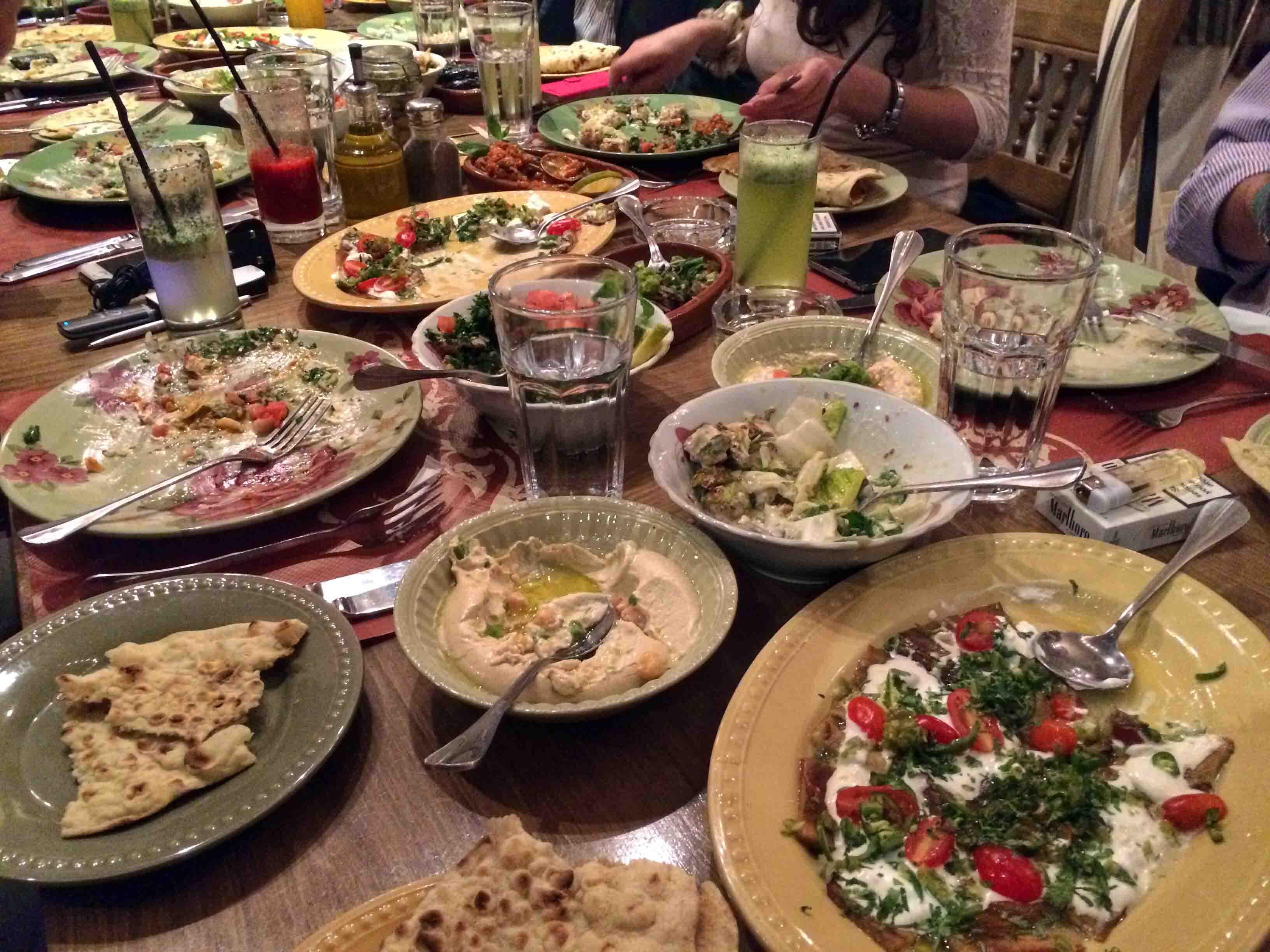 dinner on rainbow street in amman  jordan