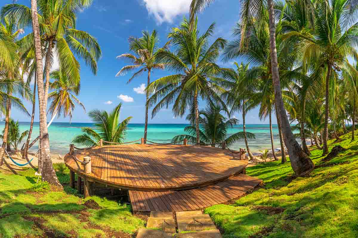 The yoga deck at Yemaya Hotel and Resort on Little Corn Island
