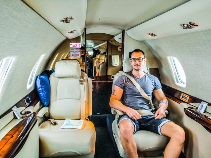 flying in a private jet